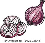 red onion whole   sliced vector ... | Shutterstock .eps vector #142122646