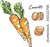 fresh carrots whole sliced  ... | Shutterstock .eps vector #142122700