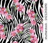 pink orchid bouquet botanical...   Shutterstock . vector #1421243690