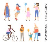 man and woman walking outdoor... | Shutterstock .eps vector #1421246399