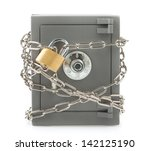 metal safe with chain and... | Shutterstock . vector #142125190