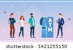 bank customers using an atm... | Shutterstock .eps vector #1421255150