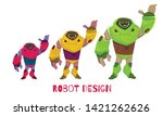 set different in size robot... | Shutterstock .eps vector #1421262626