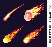 meteorite icons set. cartoon... | Shutterstock .eps vector #1421264489