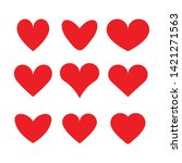 set of icons of red hearts....   Shutterstock .eps vector #1421271563