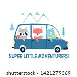 cars and animals vector... | Shutterstock .eps vector #1421279369