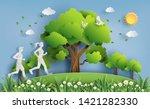 paper art style of landscape... | Shutterstock .eps vector #1421282330