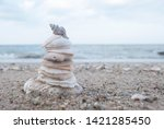 Stack Of Sea Shell At The Beach ...