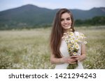 beautiful woman with long...   Shutterstock . vector #1421294243