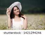 beautiful woman with long...   Shutterstock . vector #1421294246