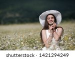 beautiful woman with long...   Shutterstock . vector #1421294249