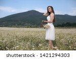 beautiful woman with long...   Shutterstock . vector #1421294303