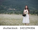 beautiful woman with long...   Shutterstock . vector #1421294306
