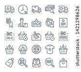 shopping related line icon set. ...