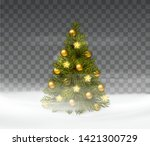 christmas tree. snow background.... | Shutterstock .eps vector #1421300729
