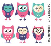 icons of cute owls isolated on... | Shutterstock . vector #1421303150