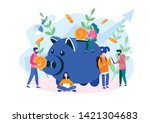 large piggy bank with business... | Shutterstock .eps vector #1421304683