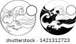 fuji mountain in circle... | Shutterstock .eps vector #1421312723