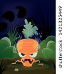 scary illustration of a cartoon ...   Shutterstock .eps vector #1421325449