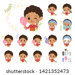 a set of boy on beauty.there... | Shutterstock .eps vector #1421352473