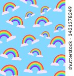 rainbow in the clouds   rainbow ... | Shutterstock . vector #1421378249