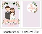 cute bride and groom cartoon in ...   Shutterstock .eps vector #1421391710