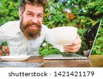 drink coffee work faster.... | Shutterstock . vector #1421421179