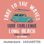 vintage hand drawn surf car.... | Shutterstock .eps vector #1421435750