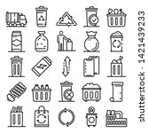 Garbage Icons Set. Outline Set...