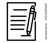 document and pen icon. outline... | Shutterstock .eps vector #1421439269