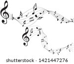 music notes black. abstract... | Shutterstock .eps vector #1421447276