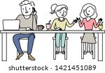 man and women sitting at cafe... | Shutterstock .eps vector #1421451089