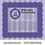 violet warranty certificate... | Shutterstock .eps vector #1421464166