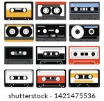 set of audio cassettes.... | Shutterstock .eps vector #1421475536