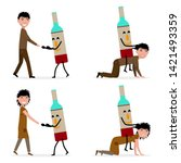 alcoholism concept set. comic... | Shutterstock .eps vector #1421493359