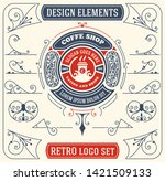 vintage coffee logo with... | Shutterstock .eps vector #1421509133