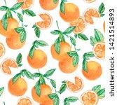 watercolor fruit pattern orange ... | Shutterstock . vector #1421514893