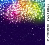 shiny fireworks on starry sky... | Shutterstock .eps vector #1421518619