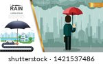 flat rain colorful concept with ... | Shutterstock .eps vector #1421537486