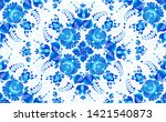 blue painted flowers in russian ... | Shutterstock . vector #1421540873