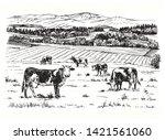 cows grazing on meadow. hand...   Shutterstock .eps vector #1421561060