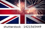 waving england flag and... | Shutterstock . vector #1421565449