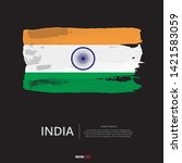 flag of india with  brush...   Shutterstock .eps vector #1421583059
