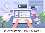 work desk in office. can use... | Shutterstock .eps vector #1421586053