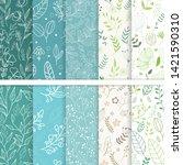 vector paper set of flower and...   Shutterstock .eps vector #1421590310