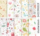 vector paper set of flower and... | Shutterstock .eps vector #1421590319