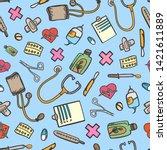 pattern medicine doodle color... | Shutterstock .eps vector #1421611889