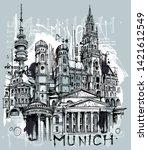 munich city sketch isolated on... | Shutterstock .eps vector #1421612549