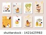hello summer posters in vector. ... | Shutterstock .eps vector #1421625983