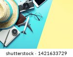 travel accessories objects and... | Shutterstock . vector #1421633729